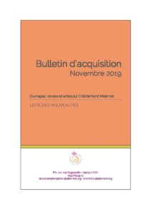 thumbnail of Bulletin d'acquisition Novembre